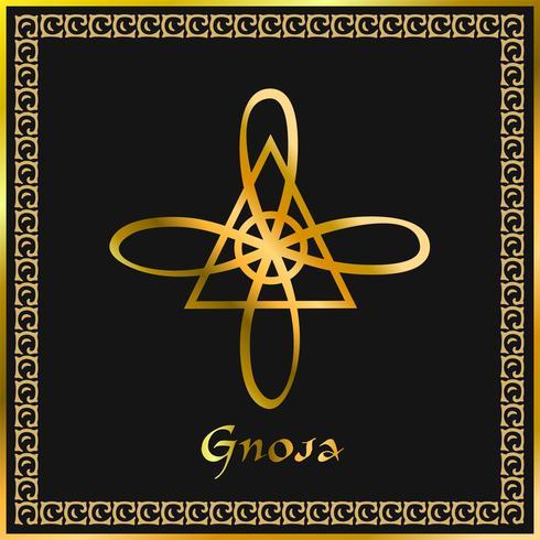 Karuna Reiki. Cura energética. Medicina alternativa. Símbolo De Gnosa. Prática espiritual. Esotérico. Dourado. Vetor