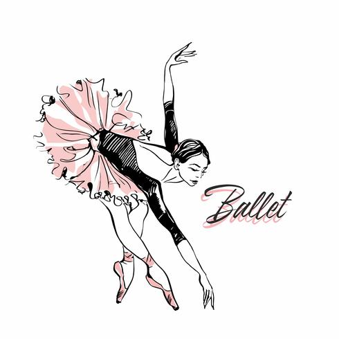 Bailarina em tutu de ballet rosa. Dançarino em uma pose bonita. Balé Inscrição. Ilustração vetorial vetor