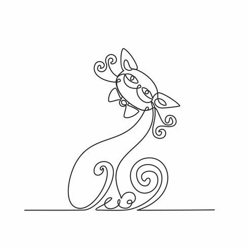 Gato. Desenho de linha contínuo. Gatinho engraçado. Fundo branco. Vetor. vetor