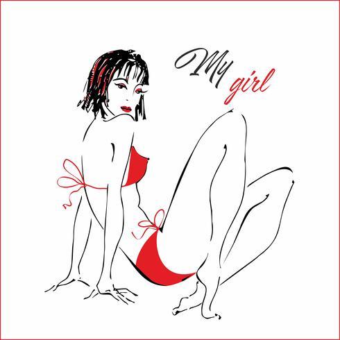 Garota em traje de banho. A minha rapariga. Lettering Fato de banho vermelho. Gráficos elegantes. Esboço. Modelo de moda. Vetor. vetor