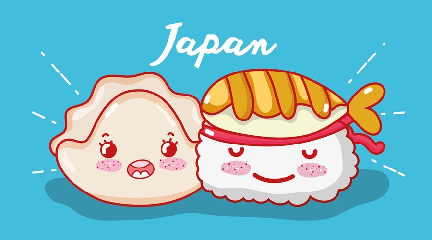 Sushi kawaii bonito dos desenhos animados vetor