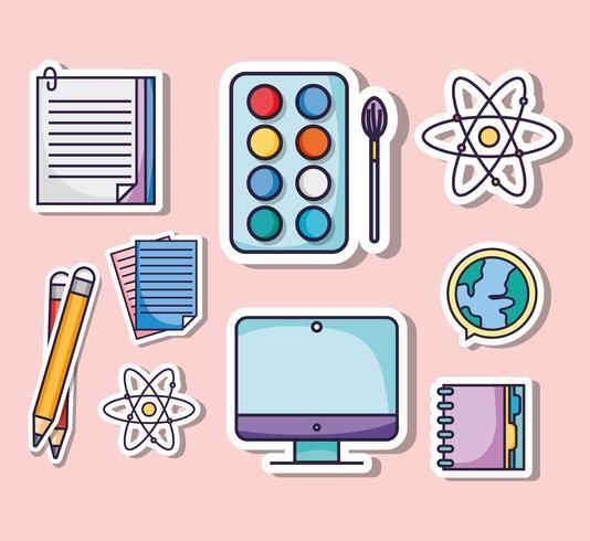 conjunto de ícones de utensílios de escola de educação vetor