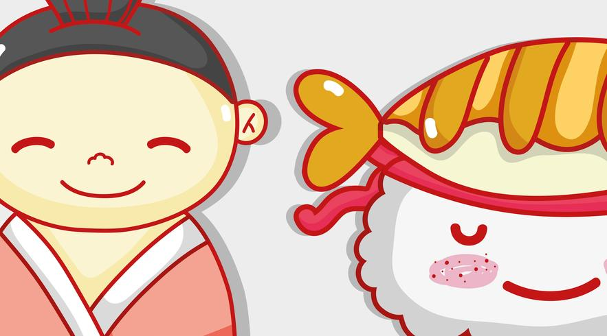 Japonês e sushi bonito kawaii dos desenhos animados vetor