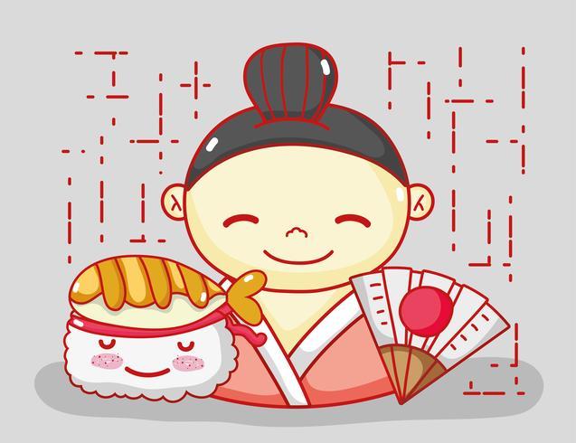 Japonês apaixonado por comida vetor