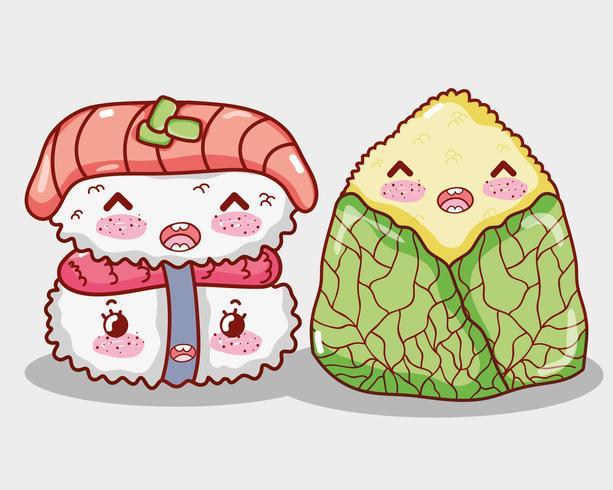 Desenhos animados bonitos do kawaii da comida asiática vetor