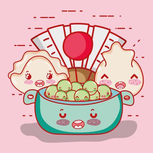 Desenhos animados bonitos do kawaii da comida japonesa vetor