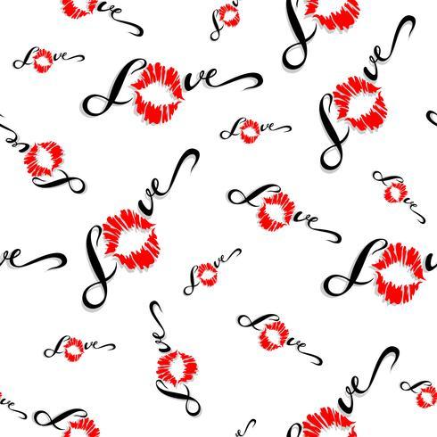 Padrão sem emenda Impressão romântica para tecido. Ame. Lettering Beijo. Impressão labial. Namorados. Vermelho. No fundo branco. Vetor. vetor