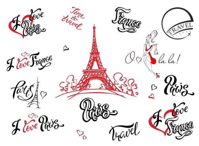 Paris. França. Conjunto de elementos de design. Esboço de Torre Eiffel. Letras inspiradoras. Modelos de etiquetas. Modelo de menina. vetor