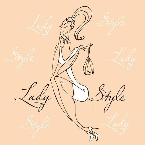 Menina bonita moda jovem. Mulher elegante em roupas da moda. Estilo Lady. A garota com a bolsa. Ilustração vetorial vetor
