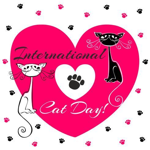 Dia internacional dos gatos. Cartão de férias. Gatos brancos e pretos. Estilo dos desenhos animados. Gatinhos engraçados engraçados. Pegadas de gato. Coração. Ilustração vetorial vetor