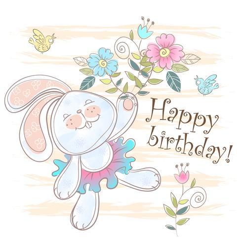 Cartão de aniversário com um lindo coelhinho. Vetor