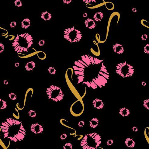 Padrão sem emenda Impressão romântica para tecido. Ame. Lettering Beijo. Impressão labial. Valentine.Pink no fundo preto .Vector vetor