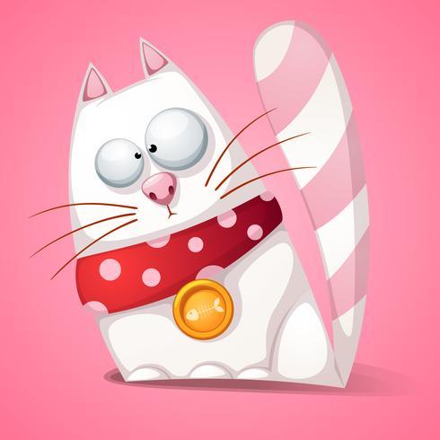 Gato engraçado, bonito, louco dos desenhos animados. vetor