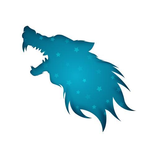 Ilustração de papel do homem-lobo no fundo branco. vetor