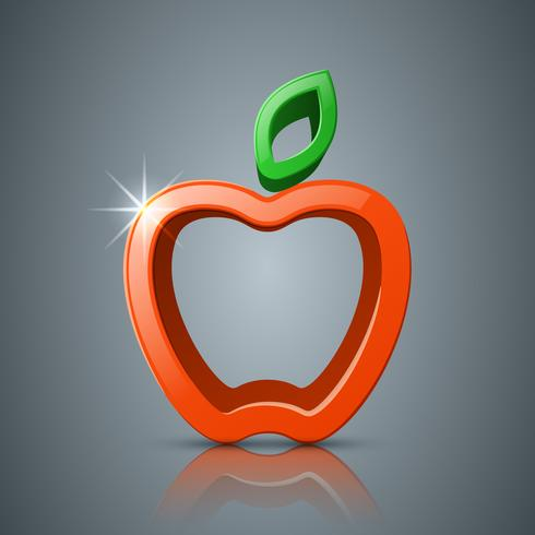 Apple, ícone de folha 3d, logotipo. vetor
