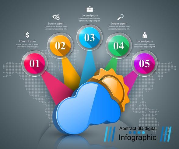 Infografia de negócios. Sol, tempo, ícone da nuvem. vetor