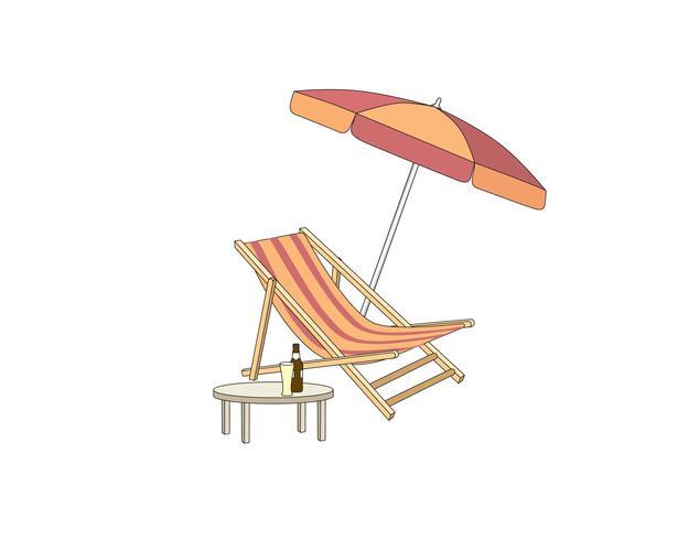 Chaise longue, mesa, guarda-sol. Praia de espreguiçadeira símbolo de estância de verão das férias vetor