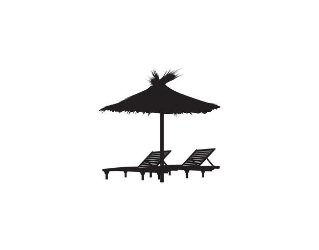 Espreguiçadeira cadeira guarda-chuva verão praia férias ícone símbolo. vetor