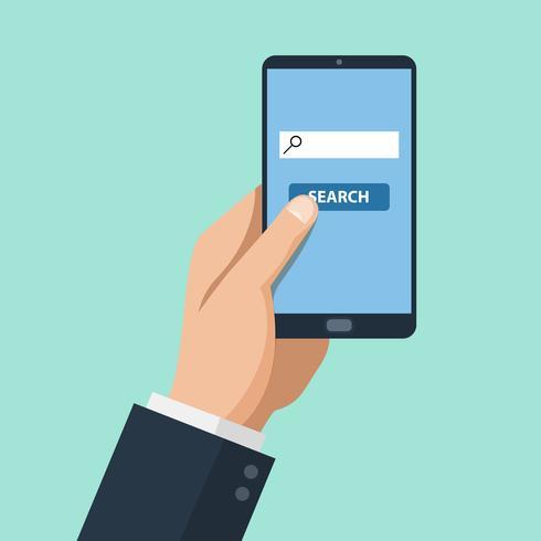 Homem, mão, e, smartphone vetor