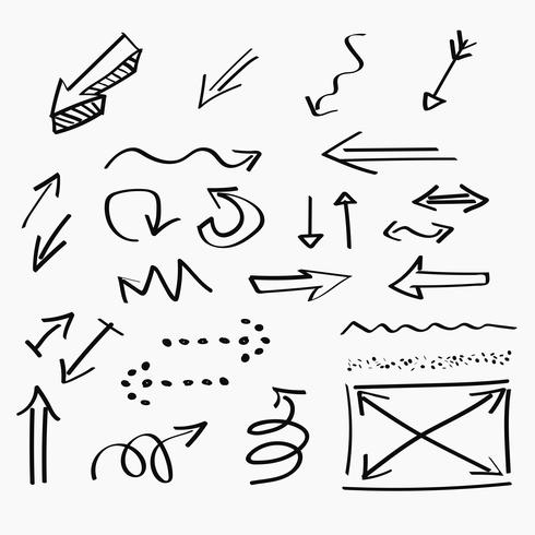 Ícones desenhados à mão de setas e design de escrita abstrata doodle vetor