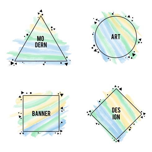 Formas diferentes de quadros elegantes com pinceladas de cores pastel, vector set
