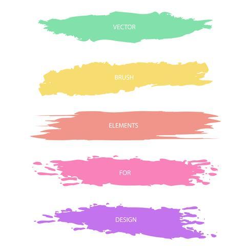 Traçados de pincel texturizado de cores pastel, vector set
