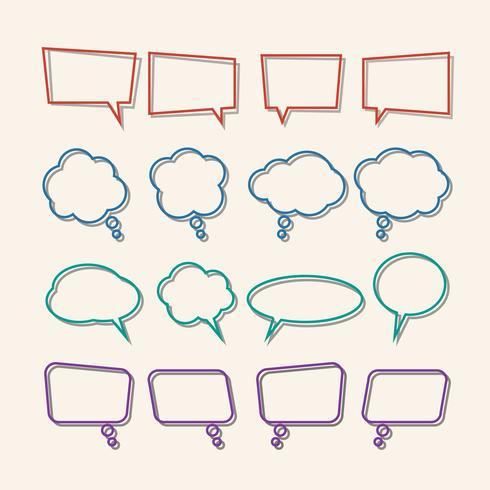 Bolha do discurso linear com conjunto de ícones de sombras vetor