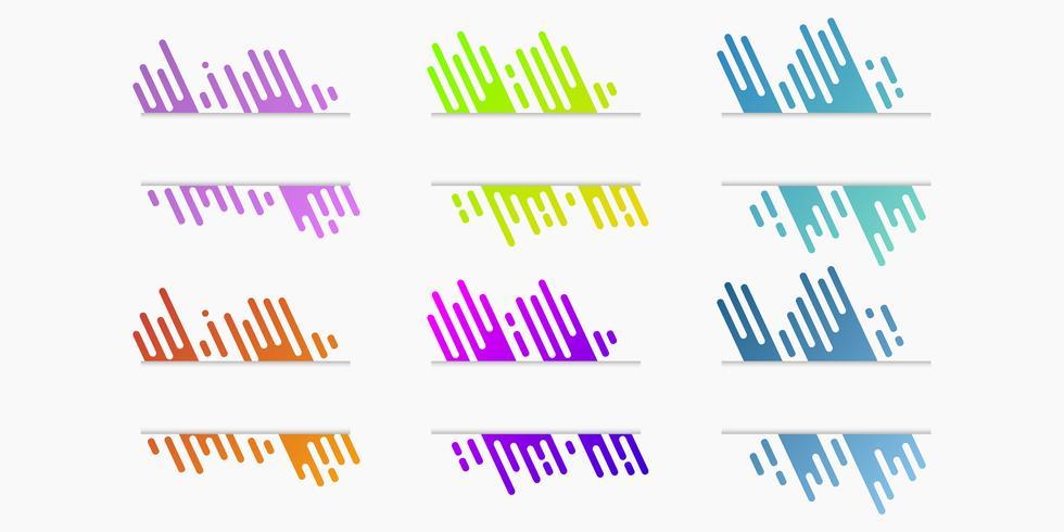 Conjunto de vetores de banners de papel cortado com linhas arredondadas gradientes dinâmicas