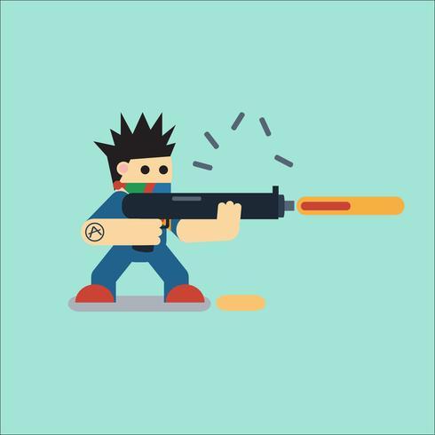 Personagem de desenho animado plana com arma vetor