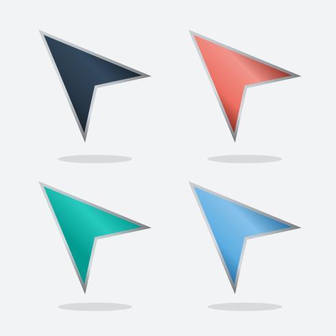 Conjunto de setas coloridas de navegação vetor