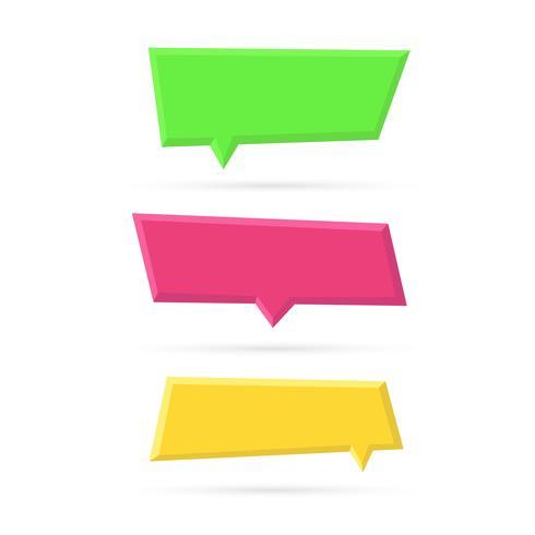 Conjunto de vetores de bolhas do discurso de plástico vazio de cor