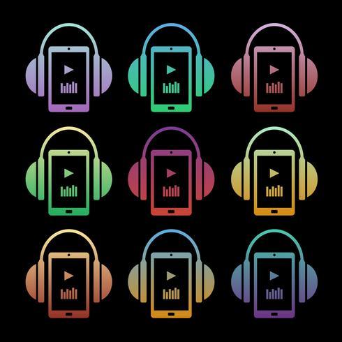 Conjunto de ícones da música conceito - fones de ouvido com o jogador vetor