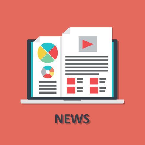 Ícone de notícias on-line de laptop em estilo simples vetor