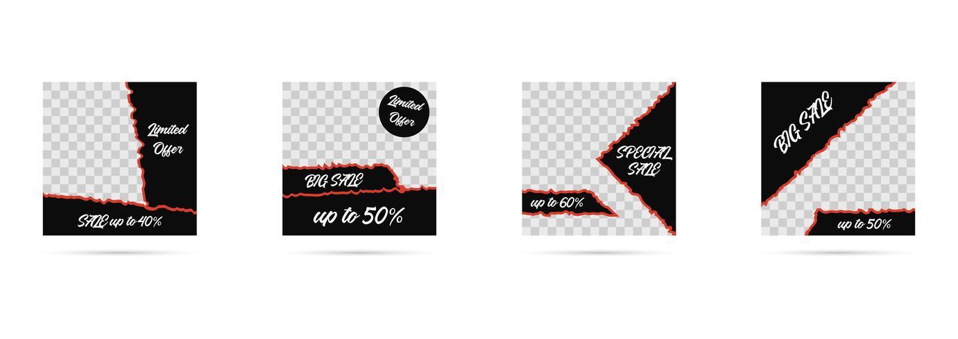 Mídia social postar modelos, coleção de banners de mídia editável vetor