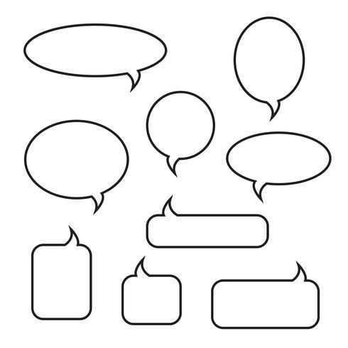 Conjunto de ícones lineares de bolhas arredondadas discurso vetor