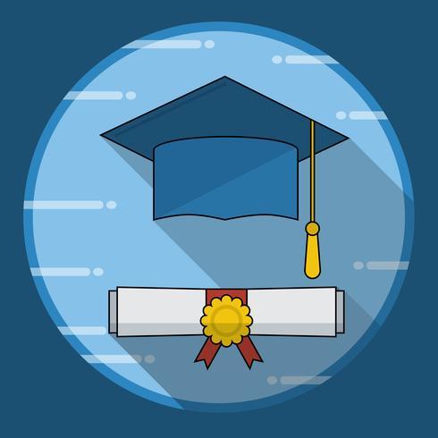 Graduation cap and diploma rolou o ícone de rolagem com sombra longa vetor