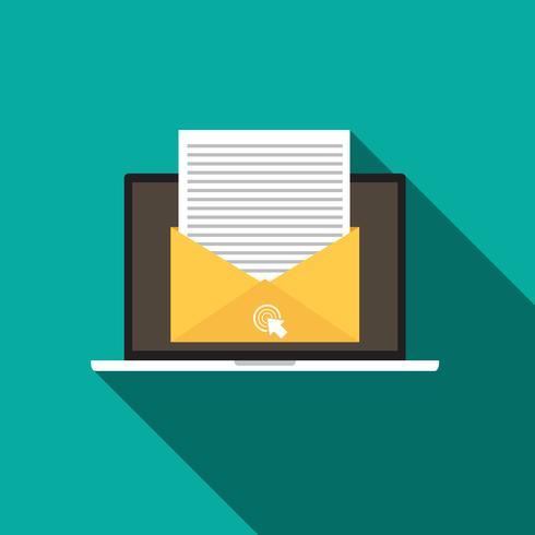 Ícone de estilo plano de e-mail marketing conceito com sombra longa vetor