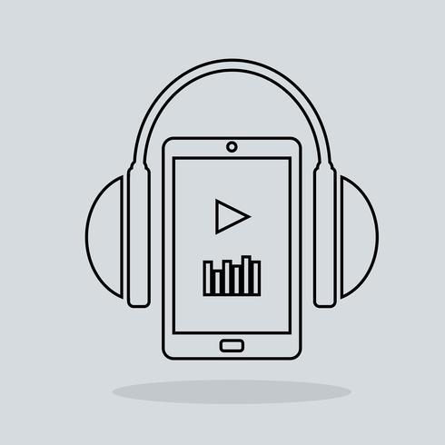 Fones de ouvido de ícone de música linear com jogador vetor