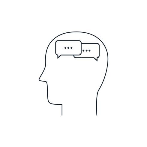 Ícone de mente humana, conceito de comunicação, design plano, estilo de linha fina vetor