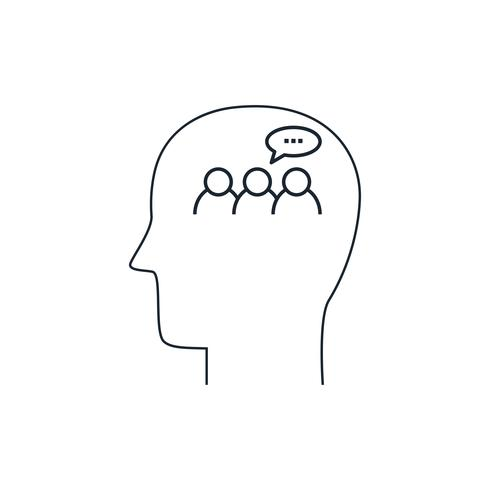 Ícone de mente humana, conceito de discussão, design plano, estilo de linha fina vetor