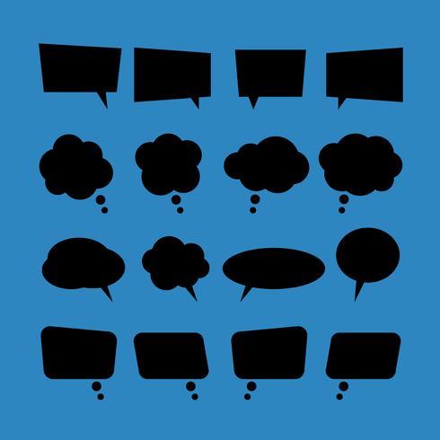 conjunto de bolhas de discurso plana em branco de vetor em estilo preto