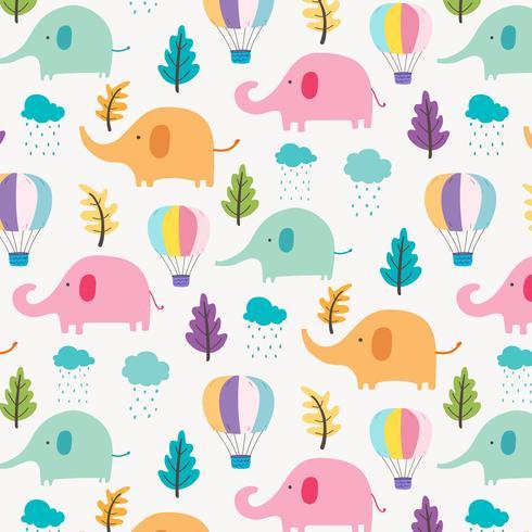 Fundo Bonito Do Teste Padrão Do Elefante Para Miúdos. Ilustração vetorial. vetor