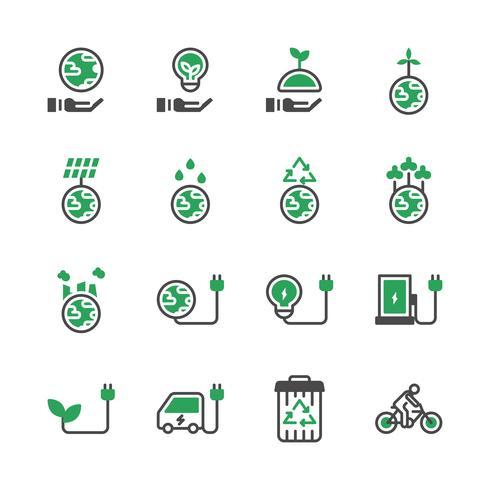 Conjunto de ícones de ecologia. Ilustração vetorial vetor