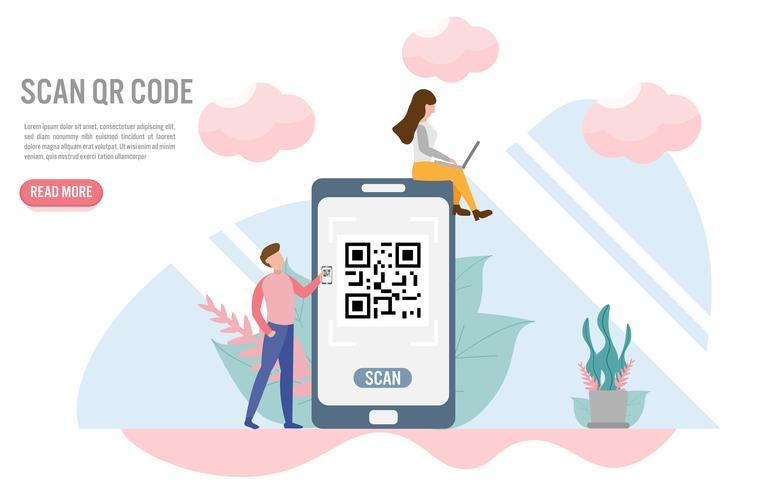 Digitalize o código QR. Conceitos de pagamento com caráter. Design plano criativo para banner web vetor