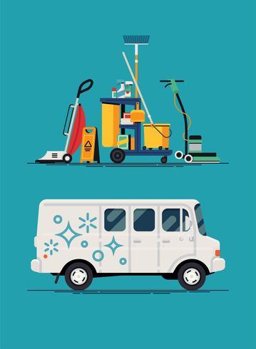 Veículo e equipamento da empresa de limpeza vetor