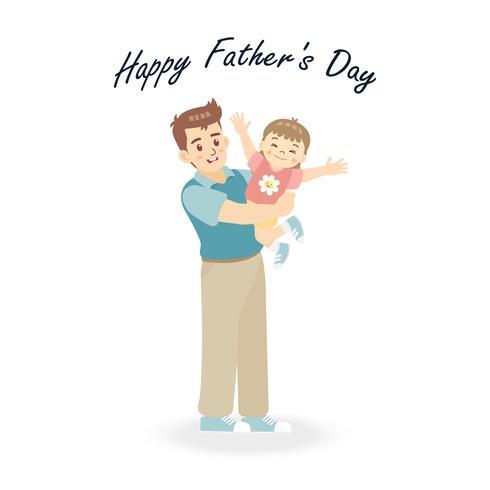 Personagem de desenho animado de pai e filha em um momento de feliz tempo. Conceito para o dia ou a criança de pai com pai e família. Ilustração do vetor isolada no fundo branco.