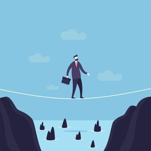 O homem de negócios que anda através da abertura em uma corda-bamba traz o saco do escritório acima do penhasco. vetor