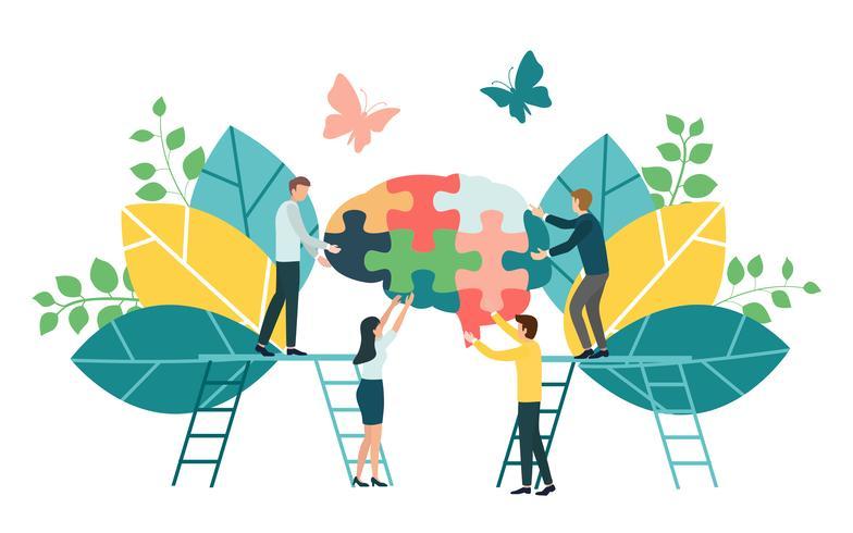Processo de negócio criativo do brainstorming e conceito da estratégia empresarial para o desenvolvimento de equipas, o trabalho em equipa e a colaboração. Design plano para web banner, material de marketing e apresentação, vetor