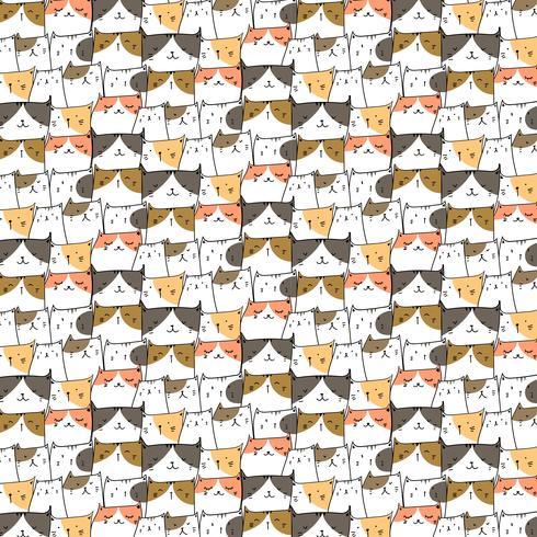 Fundo bonito tirado mão do teste padrão do vetor dos gatos. Doodle engraçado. Ilustração vetorial artesanal.