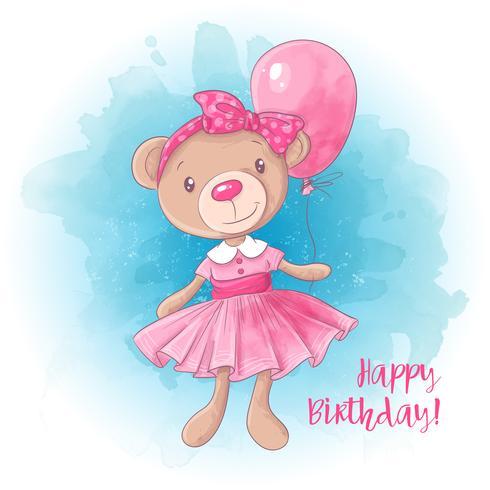 Urso bonito da menina dos desenhos animados com um balão. Cartão de aniversário. Ilustração vetorial vetor